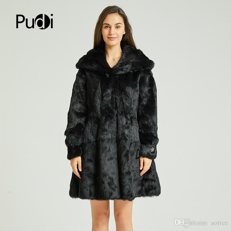 b83d0f12cc23 2019 Women Real Rabbit Fur Coat Jacket 2018 Brand New Winter Full Pelt  Natural Fur Coats Jackets Cape Poncho With Fur Hood CT818 Sale AENEW From  Aorice, ...