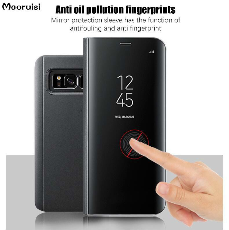best authentic 8f1a2 a30f1 Clear View Mirror Smart Case For Xiaomi mi 6 6X 5X 5C A1 A2 MIX 2 back  cover Case for Xiaomi mi6 mi6X mi5X mi5c Flip Stand Cases