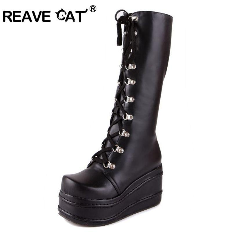 REAVE CAT Style Women Black Boots Casual Knee High Wedges Platform High  Heel Boots Punk Gothic Shoes Lace Up Riding Boas QH3038 Wedge Booties Boots  Sale ... 6156873dc5