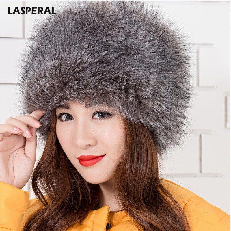 aa44a0d3899 LASPERAL Winter Women Lady Faux Fox Fur Cossack Style Russian Winter ...