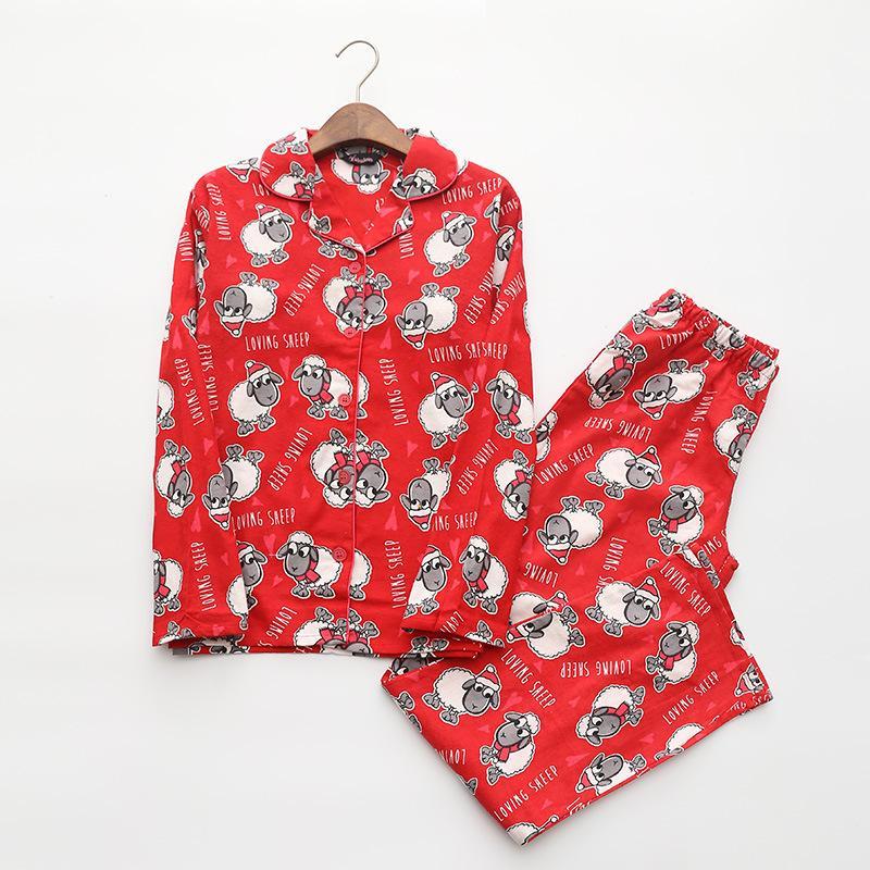 771e143010998 Acheter Pyjamas Rouge Femmes Automne Hiver Noël Nouvel An Mouton Brossé  Coton Manches Longues Élastique Taille Lâche Pyjamas Lounge S87394 De  $40.36 Du ...