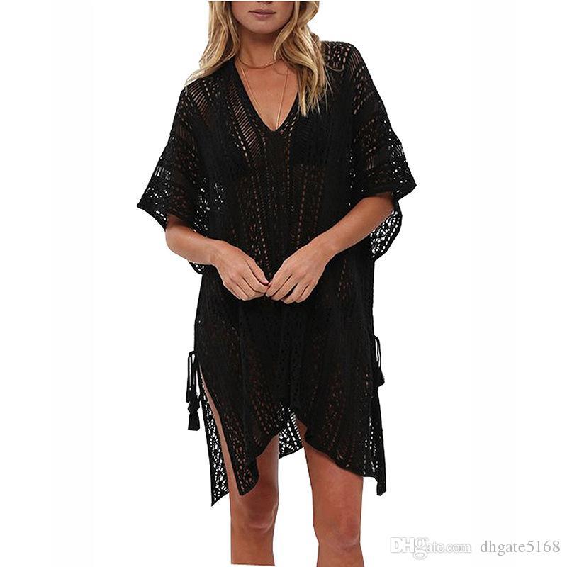 Women Sexy Mesh Knitted Crochet Beach Tops T Shirts Swimsuit Cover Up Swimwear Bikini Wrap bikini cover up summer woman