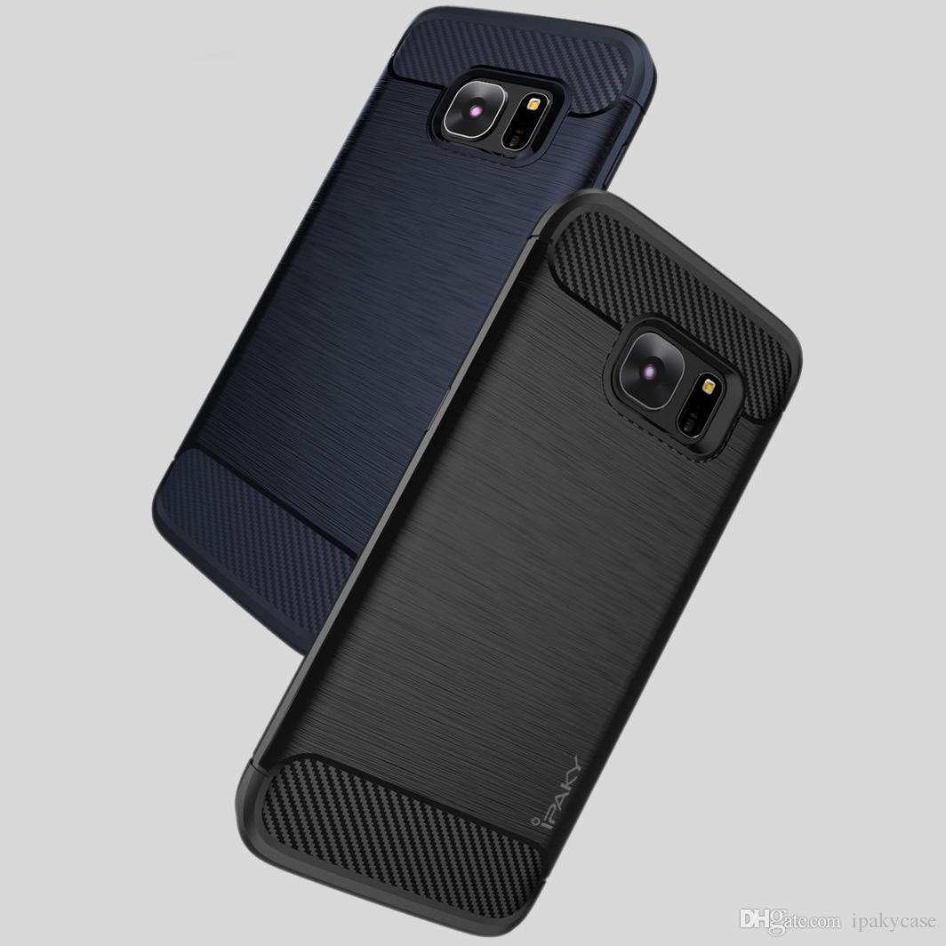 size 40 c1647 59cca iPaky Case For Samsung Galaxy S7 Edge Brushed TPU Back Cover S7 Drop-proof  Shockproof Rugged Armor Cases With Retail Package In Stock