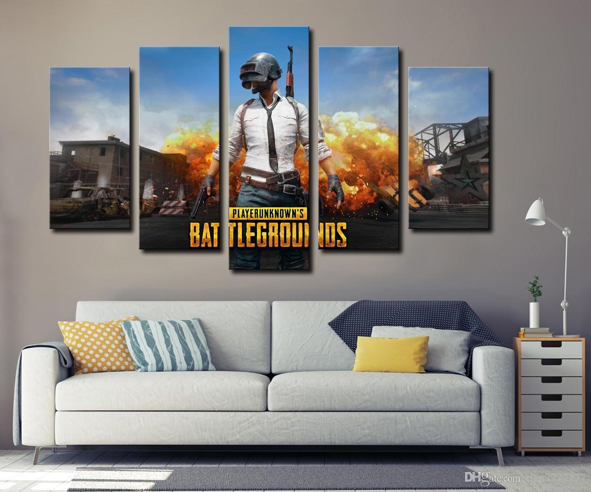 Nouveau Jeu Chaud PUBG Affiche Peinture 5 Panneau No Frame Mur Art Modulaire Image Pour Chambre Décor À La Maison HD Imprimer Populaire Cadeau