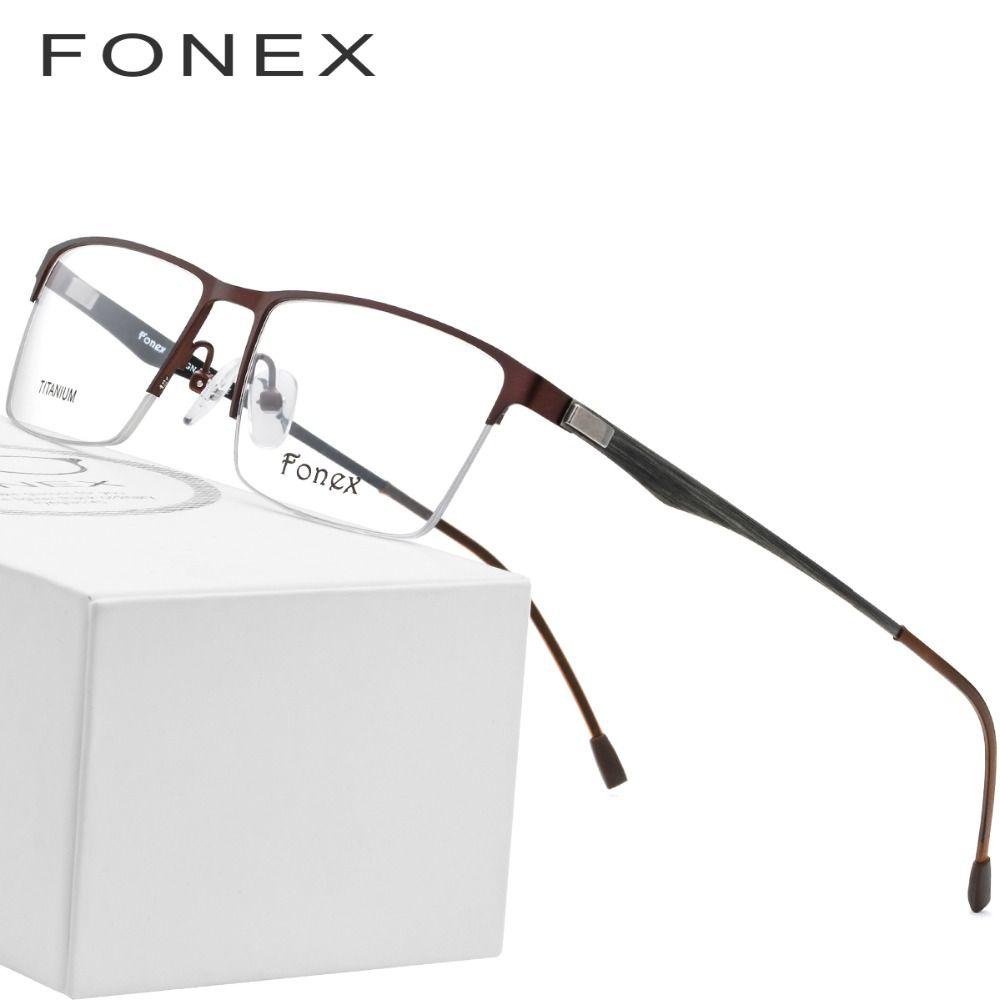 28b85191920 2019 Titanium Glasses Frame Men Square Myopia Prescription Eyeglasses 2018  Male Metal Semi Rimless Optical Frames Screwless Eyewear From Hermane