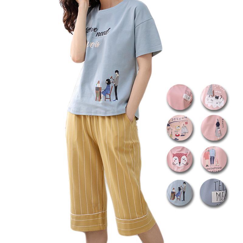 3d766bcae146 2019 UNLIMON Cotton Pajamas For Women Pajamas Cute Sleepwear Sets  Comfortable Pjs Pink Pretty Girls Summer Pyjama Sets From  Chongyangclothes002