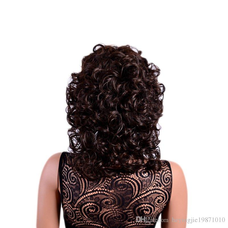 Xiu Zhi Mei Hot Sell Brown Curly Synthetic Wigs with Bangs Afro Natural Hair Full Medium Ombre Wig for Women