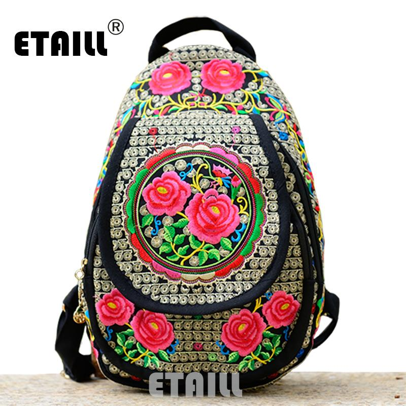 0bd8ae9b8f23 Chinese Hmong Boho Indian Thai Embroidery Brand Logo Backpack ...