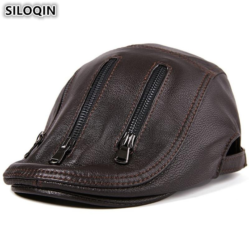 2019 SILOQIN Genuine Leather Hat Sheepskin Leather Berets For Men New Style  Personality Men S Flat Cap Adjustable Size Brands Caps From Enchanting11 a53f3936469