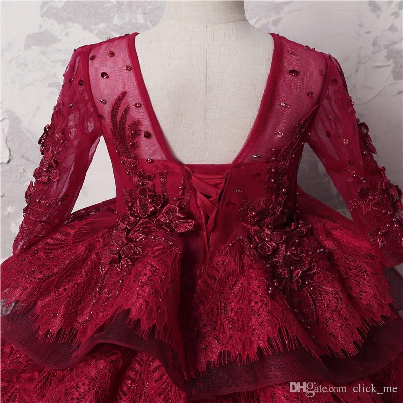 Dark Red Ball Gown Girls Pageant Dresses Child Sheer Neck Beads Long Sleeves Flower Girl Dress For Wed Multi-Layer Lace Kids Party Dress