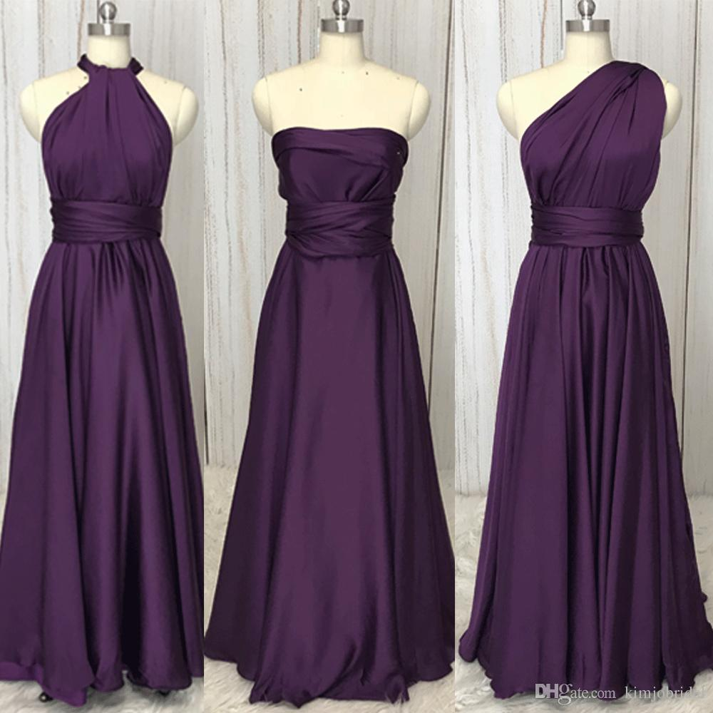 Real Picture Bridesmaid Dresses Convertible Soft Pink Pleats Chiffon Faced Satin Floor Length Maid Of Honor Dresses Discount