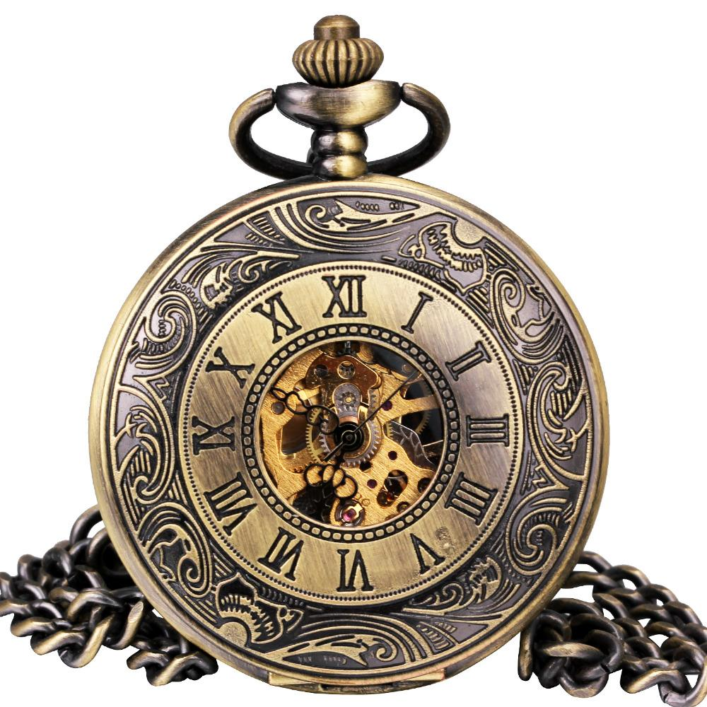 09efa903d TD Retro Steampunk Men Women Pocket Watches Japan Mechanical Movement  Bronze Carved Lid Half Hunter Pendant Necklace + Gift Box