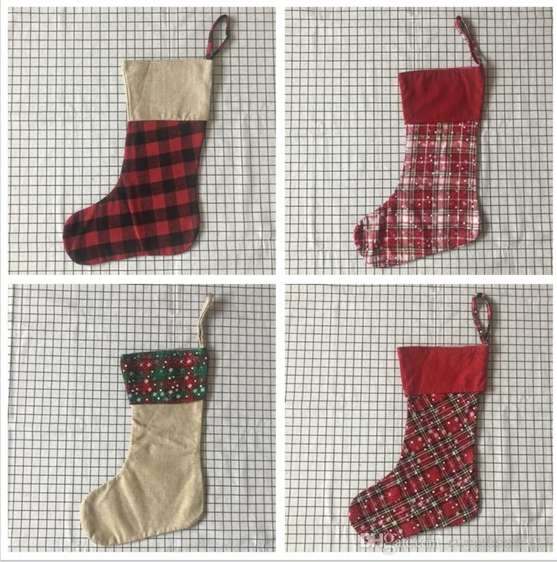 Personalized Monogrammed Buffalo Plaid Christmas Stocking Canvas Contrast Xmas Stocking With White Cuff For Xmas Decoration