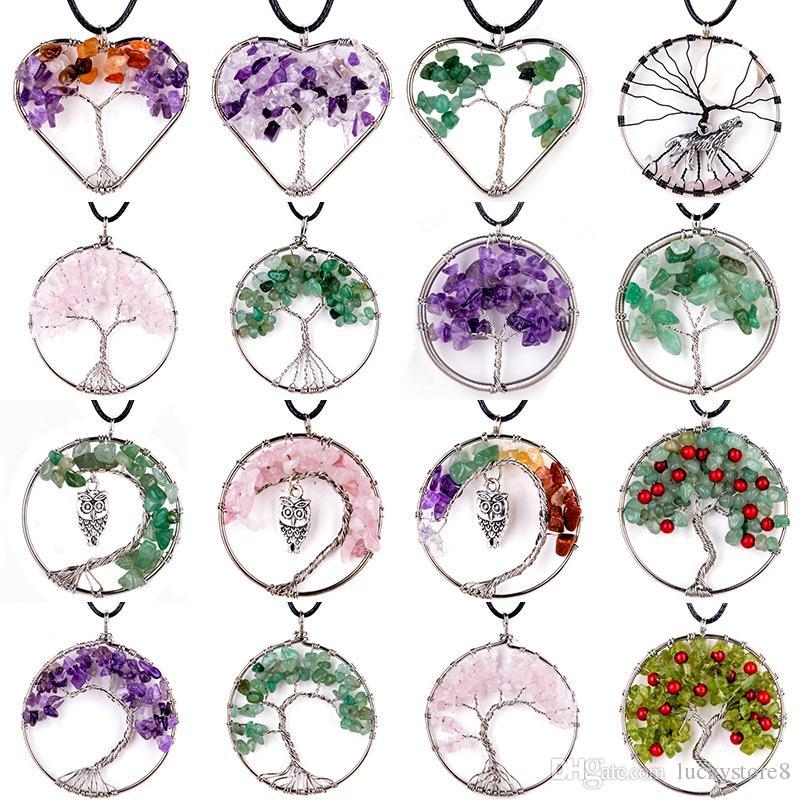 Women Rainbow Amethyst Tree Of Life Quartz Chips Pendant Necklace Multicolor Wisdom Tree Natural Stone Necklace