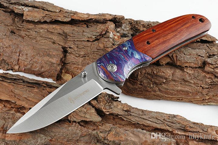 New DA138 Assisted schnellen geöffnete faltendes Blatt-440C Satin Blatt Holz Griff Liner Lock mit ursprünglichem Kleinkasten