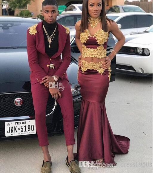 Sexy Two Pieces African Black Girl 2018 Prom Dresses High