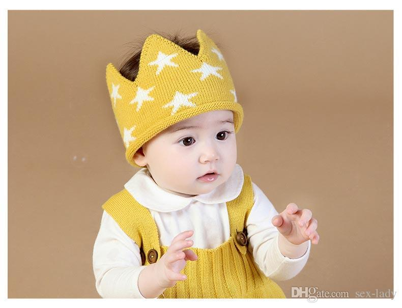 56f57e23d29 Crown 2018 Winter Autumn for Girls Children s Cap Baby Newborn Photography  Props Hat Boys Hats Birthday Kids Knit Headband Star Big Bow Headband Baby  Girl ...