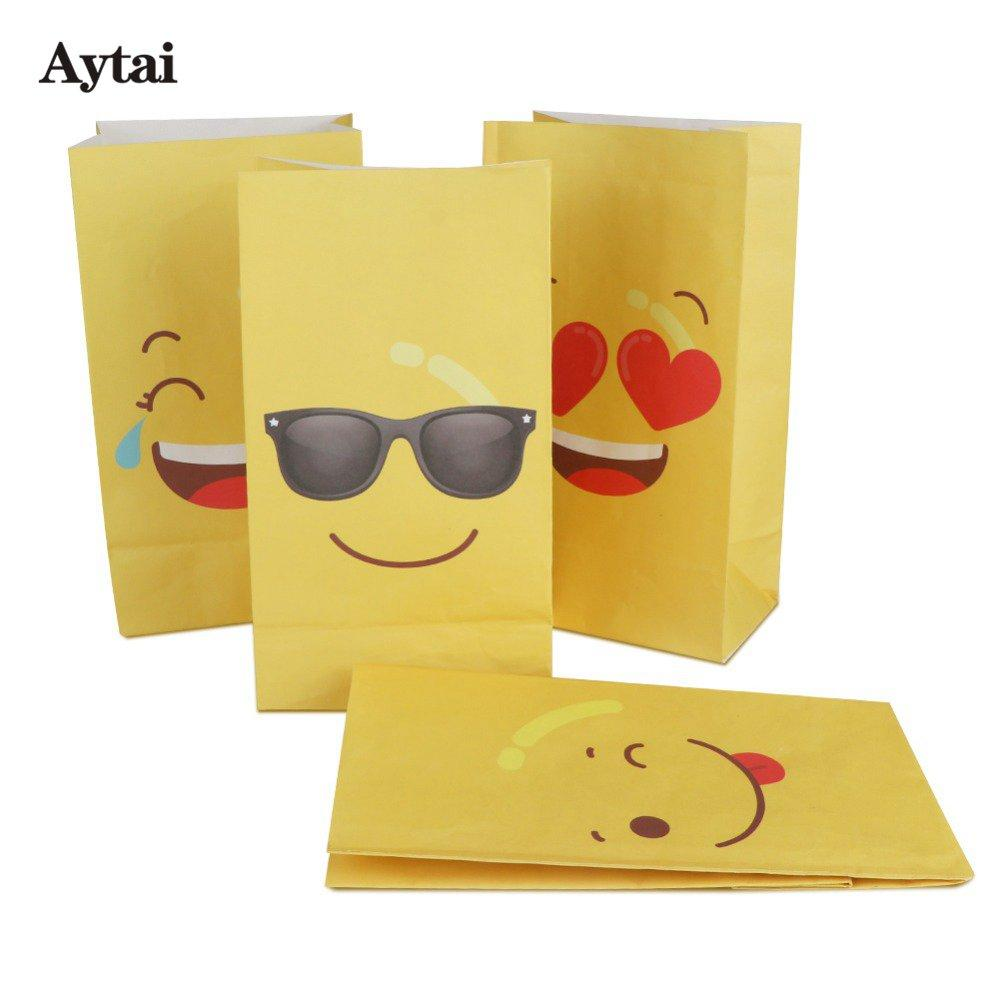 Aytai Party Favors Emoji Paper Bags Yellow Four Kinds Of Funny Expressions Birthday Gift For Kids 22128cm Wrap Rolls From