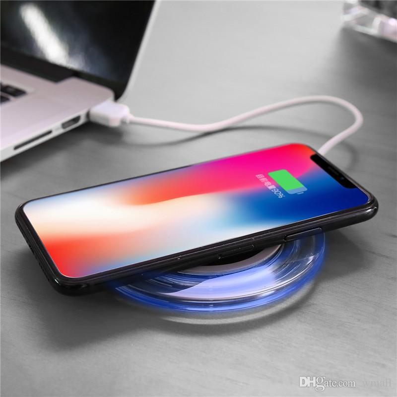 Drahtloses Ladegerät des Qi-Handys drahtloses tragbares Fantasiekristall-Universal-LED-Beleuchtungstablette, die für Rand Samsung-Galaxie S6 S7 S8 auflädt