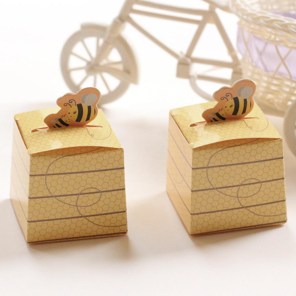 Paper Box Cute Bee Gift DIY Birthday Wedding Favor Cookie Candy Bag Baby Shower Party Decoration With White Ribbon Wrapped Christmas Presents