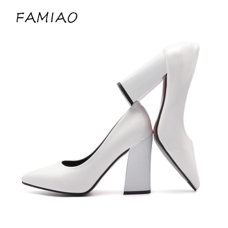 dffa931bda9 FAMIAO Super High Heels Shoes Black And White Women Pumps Sexy Point ...