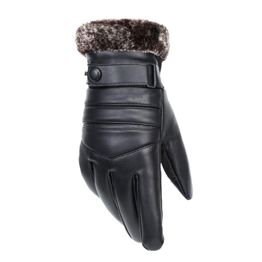2018 Men's Genuine Leather Gloves Real Sheepskin Black Touch Screen Gloves Button Fashion  Winter Warm Mittens New
