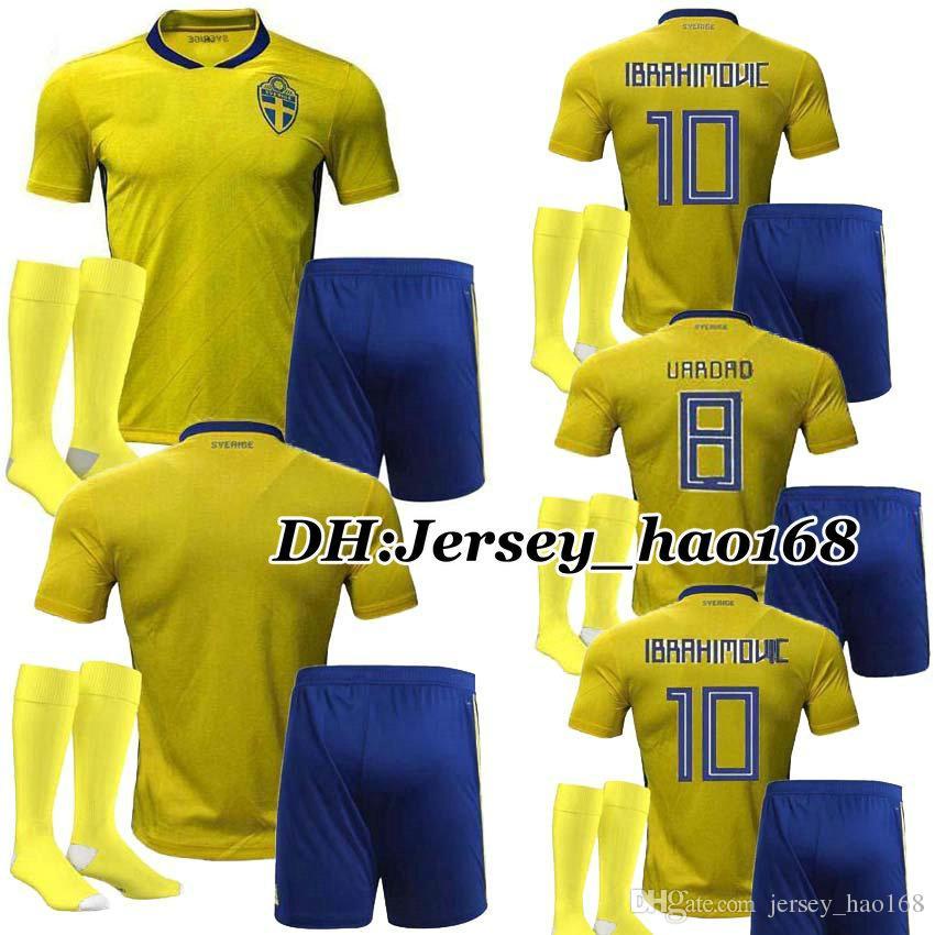 cacb20b69 Sweden Kids Kits Soccer Jerseys 2018 Home Yellow Kit Boys ...