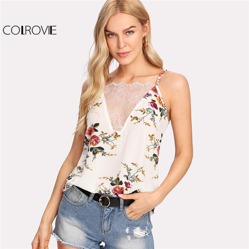 fae8fda4b753be 2019 COLROVIE Floral Print Cami Top Women White Sexy Lace V Neck Beach  Casual Summer Tops 2017 Fashion Cut Out Strappy Back Camisole From  Feiyancao