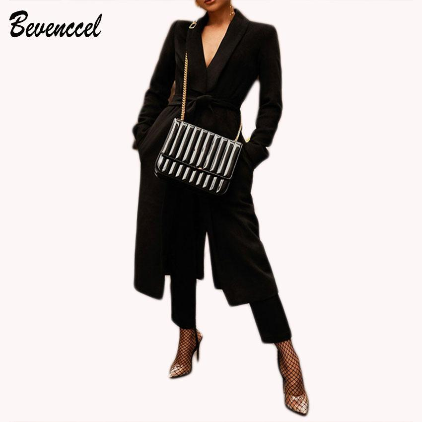 1c3ac84a26eb 2019 2018 New Women Chic Winter Slim Trench Coats Long Sleeve Deep V  Cocktail Maxi Fashion Club Party Coat With Belt From Macloth