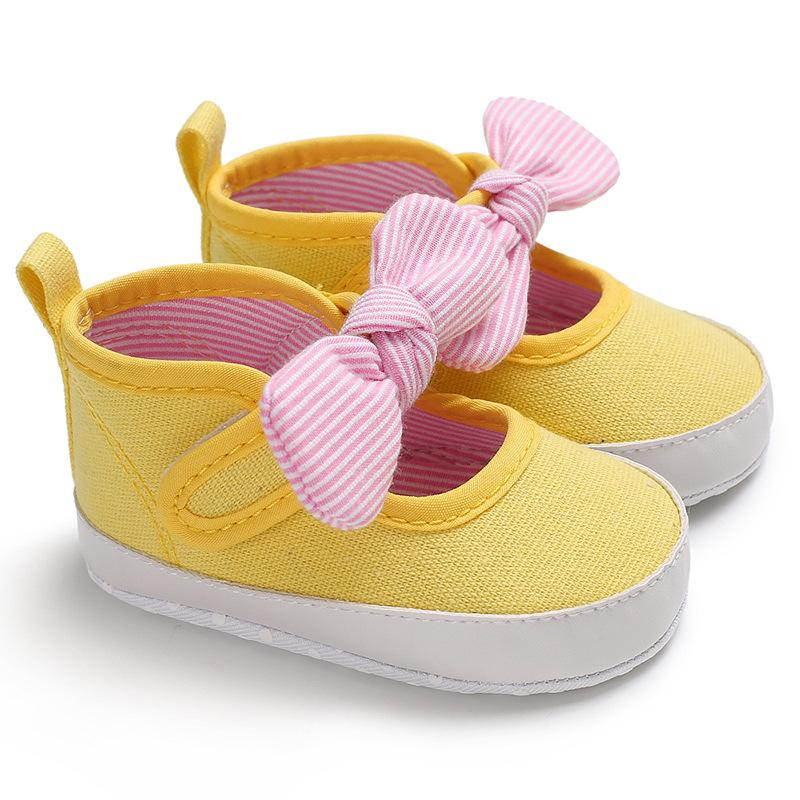 First Walkers Factory Price Baby Girl Soft Sole Shoes Dots Bowknot Toddler Anti-slip Shoes Newborn