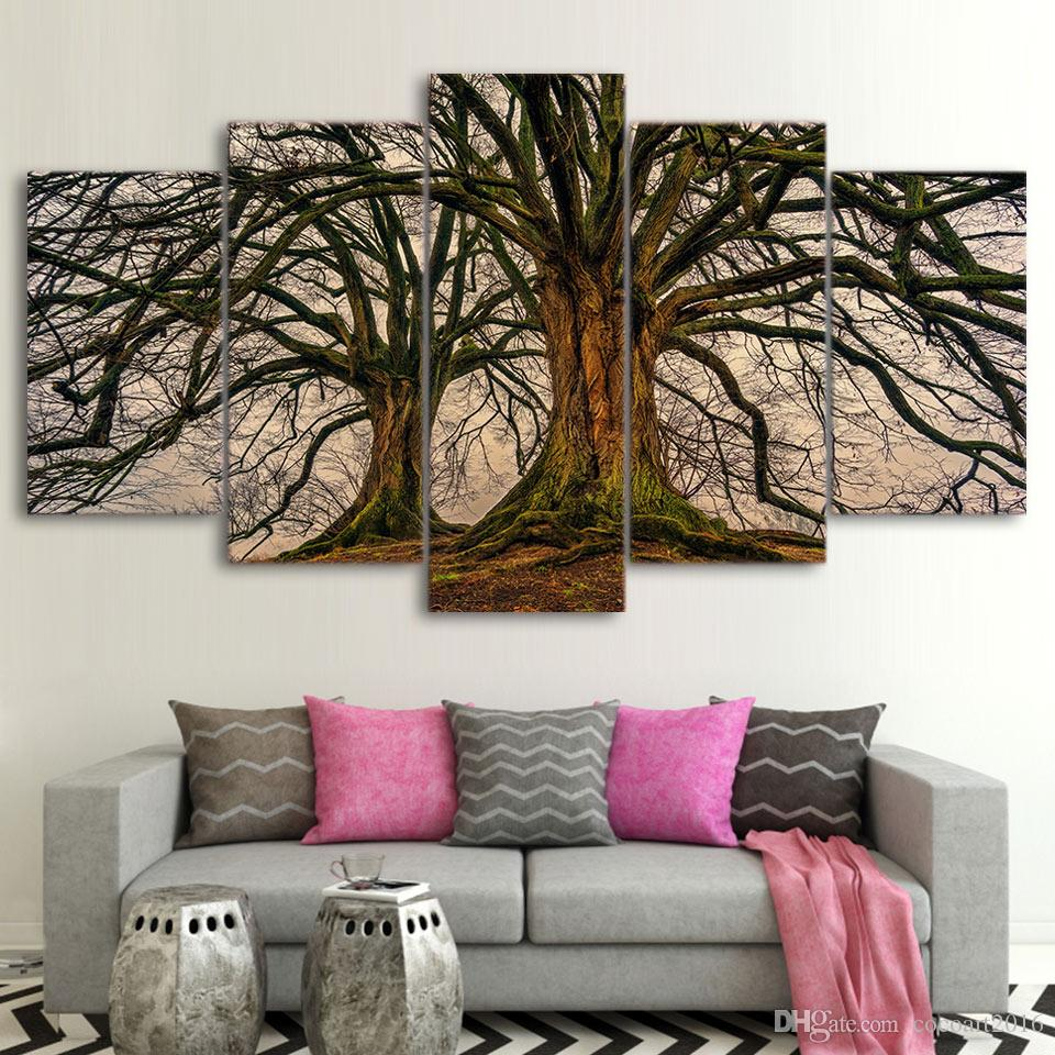 2019 5 Panel Painting Canvas Wall Art Dead Tree Picture Home