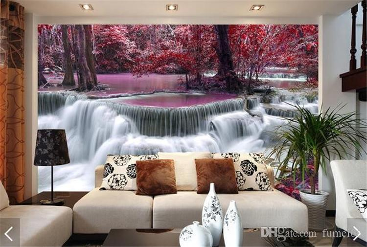 Waterfall Photo Mural Printed Wall paper Rolls Textured Wallpaper for Living Room Bedroom TV Background Landscape Murals 3D