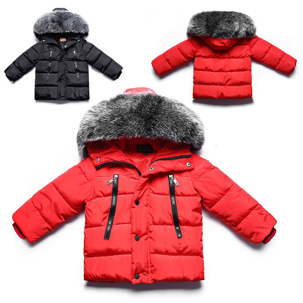 4cf08e97b Kids Boys Faux Fur Collar Hooded Parkas Coat Cotton Padded Thicken Warm  Jackets Children Solid Winter Outwear Baby Puffer Coat