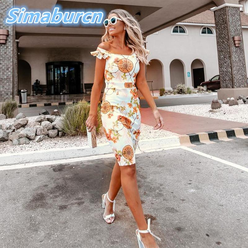 dd9cdff944e1 2019 Women Pencil Dresses Summer Autumn Sexy Femme Beach Dress Casual  Bohemian Printed Flowers Dress Ladies Sleeveless Party Vestidos From Oott,  ...