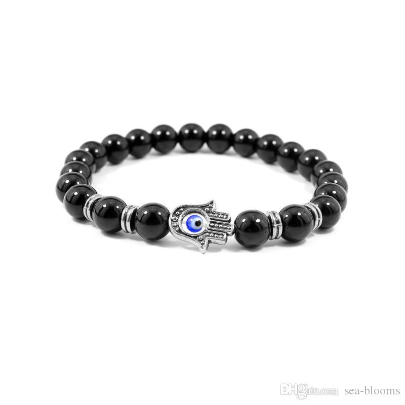 Натуральный камень лавы молитва бусины браслет мужской глаз фатимы браслет из бисера женщины девушки черный оникс с золотом серебряный браслет G350Q