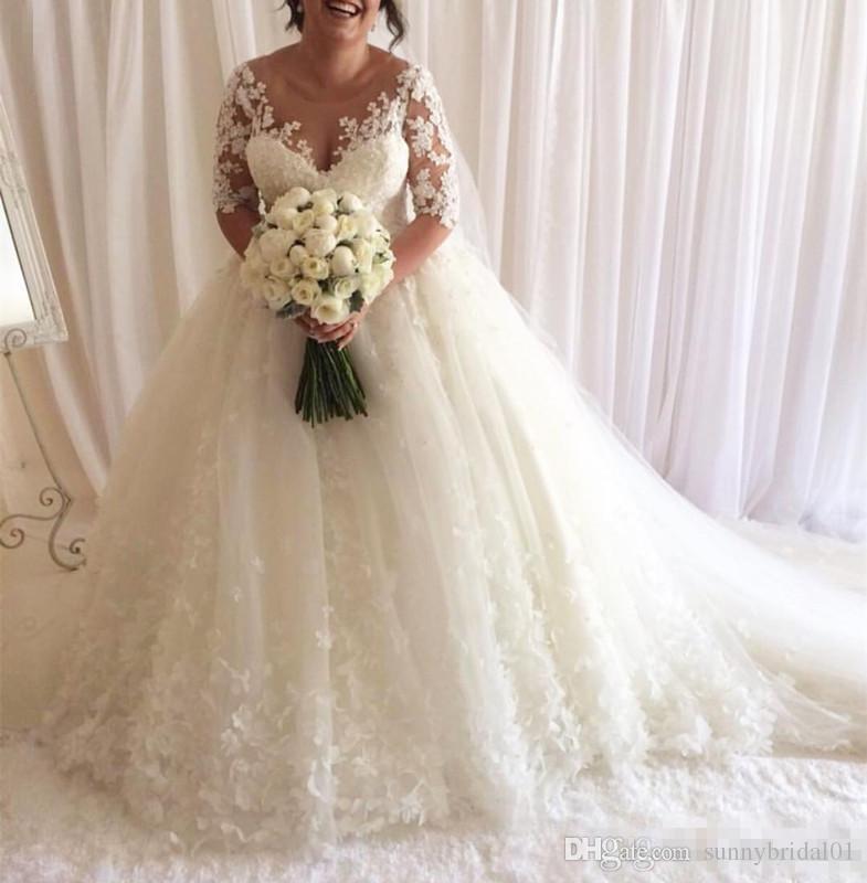 Luxuoso Bola Vestidos 3D Flora Lace Vestidos de casamento Plus Size árabe Dubai Princess White vestidos de noiva Sheer Neck Appliqued com Long Train