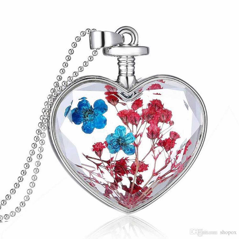 Gaufrage Fleurs Saint En Claviculaire SéchéesBoîte Cristal Pendentif Spécimen Verre Valentin Transparent La Collier Coeur De Phase qSRLAjc435