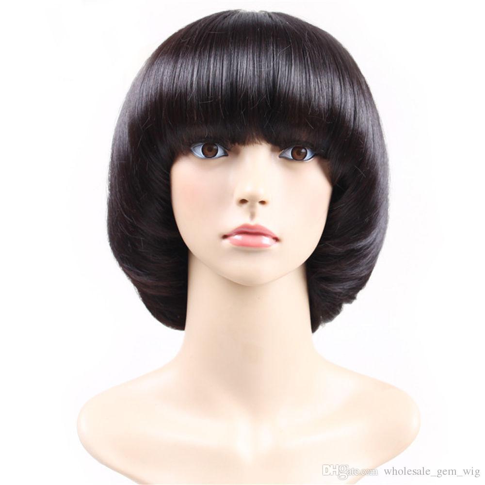 Women Ladies Brilliant Black Mushroom Haircut With Neat Bangs Girls Cosplay  Wig Full Lace Cap Wigs Silk Wig Cap From Wholesale gem wig f66fd6c4b