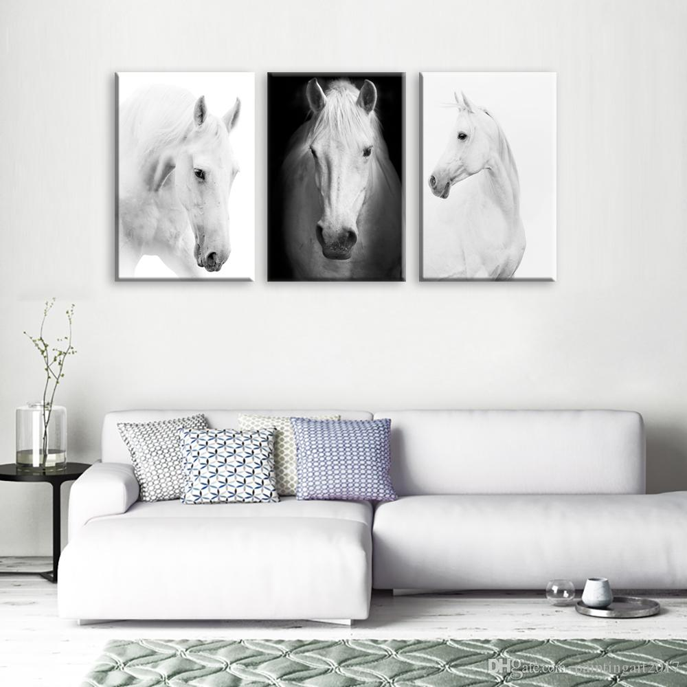 White Horse Wall Art Canvas Prints Modern Art Home Decor For Living Room  Bedroom Pictures 3