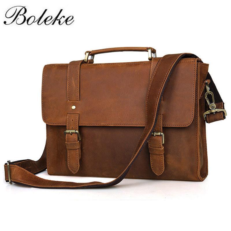 f152169bb9af Brand Men Crazy Horse Genuine Leather Messenger Shoulder Bag Vintage Casual  Handmade Handbag 13 Inch Laptop Briefcase 6076