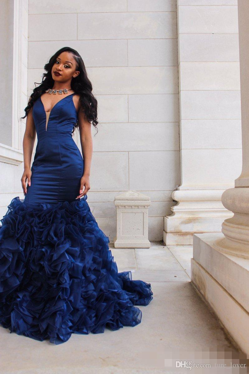 2018 Royal Blue Prom Dresses Evening Gowns Sexy Deep V Neck Sleeveless Mermaid Ruffles Organza Skirt Formal Party Dresses dresses evening