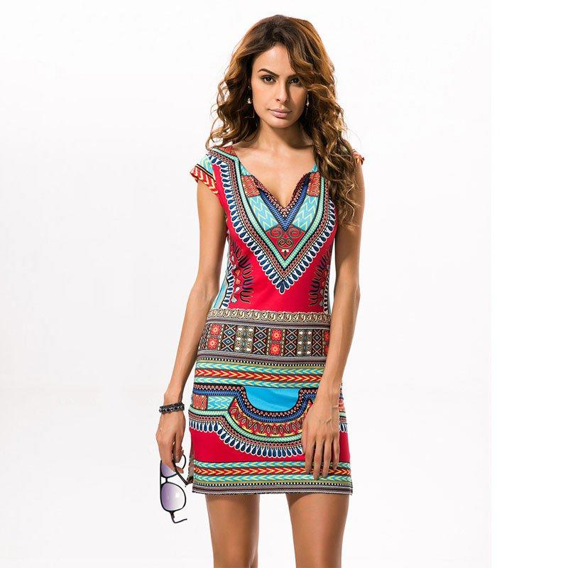 566d71ca2c6 New Ladies Summer Dress Casual 2018 Short V-neck Sexy African ...
