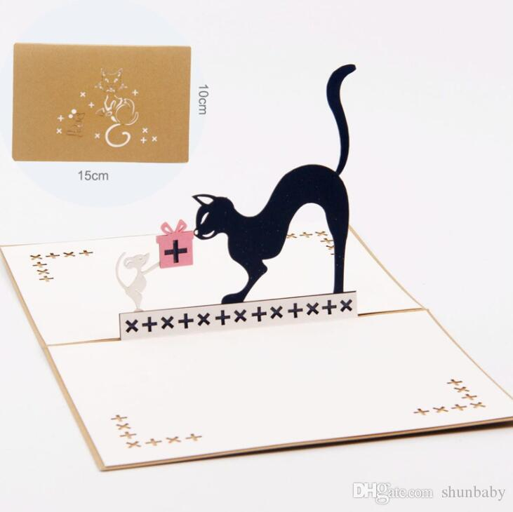 3d Pop Up Cat And Mouse Animal Birthday Greeting Card Christmas