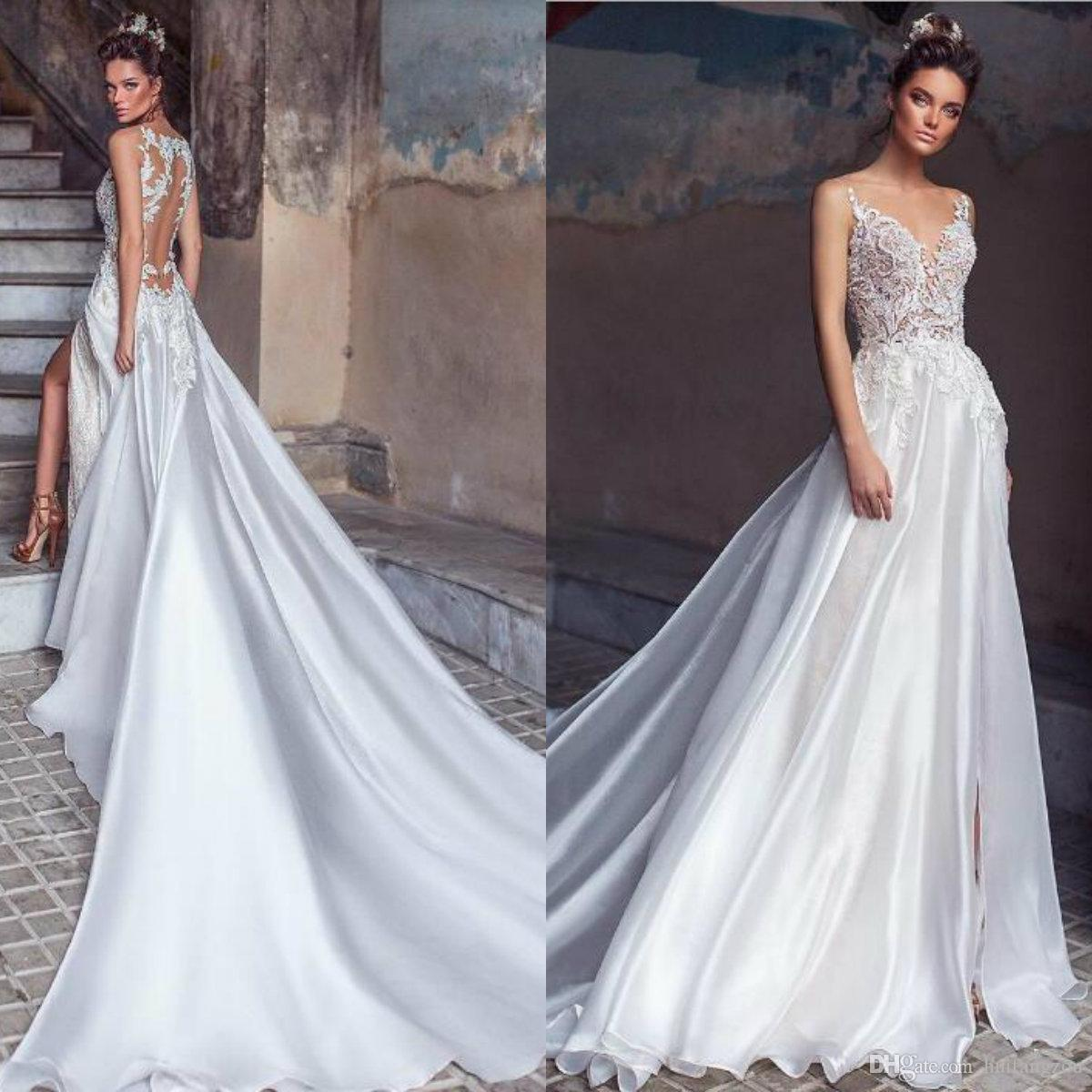 Discount 2019 Upscale Silk Wedding Dress Customized Lace Appliques Side Split Sweep Train Bridal Gowns Sheer Back Flowing Beach Dresses Tidebuy: Silk Wedding Dresses With Straps At Reisefeber.org