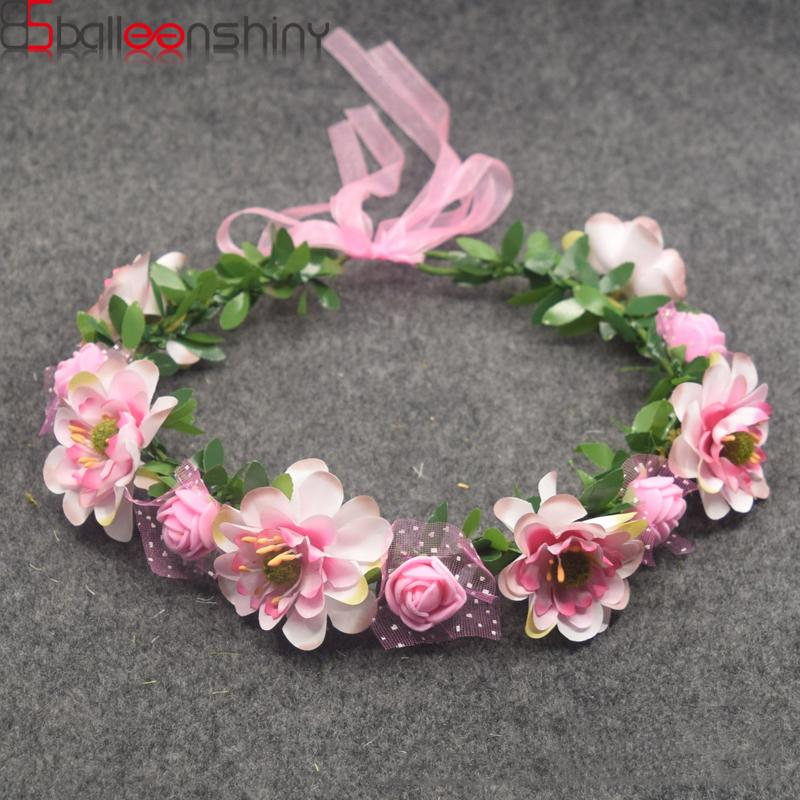 BalleenShiny Baby Girls Crown Flower Wreath Hairband Kids Bridal Floral  Headband Women Headwear Accessories For Bridesmaid Tiara Christmas Hair  Accessories ... 762404d7385