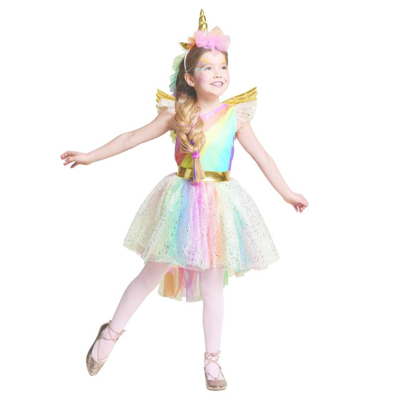 6362a965b Unique Girls  Deluxe Rainbow Unicorn Costume Great For Halloween And ...