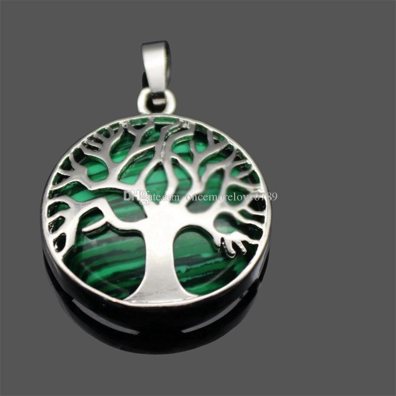 جديد الحجر الطبيعي قلادة الأحجار الكريمة شجرة الحياة سحر قلادة diy قلادة للنساء الرجال المجوهرات