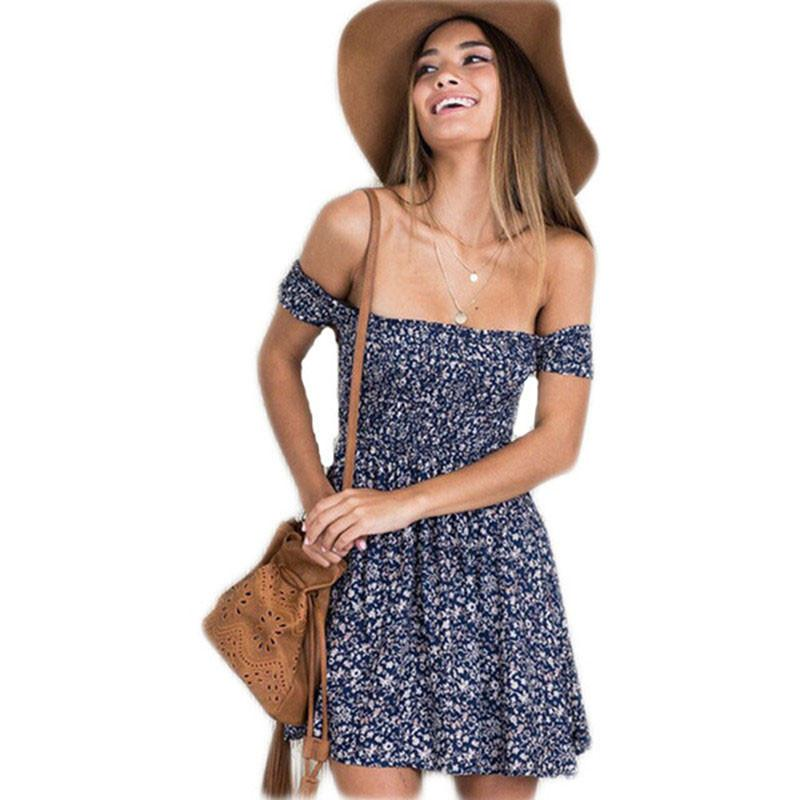d81e9285aeb Summer Dress Fashion Off Shoulder Slash Neck Floral Mini Sexy Beach Dress  Women New Elastic Casual Plus Size Party Vestidos Dresses Of Women Summer  Dress ...
