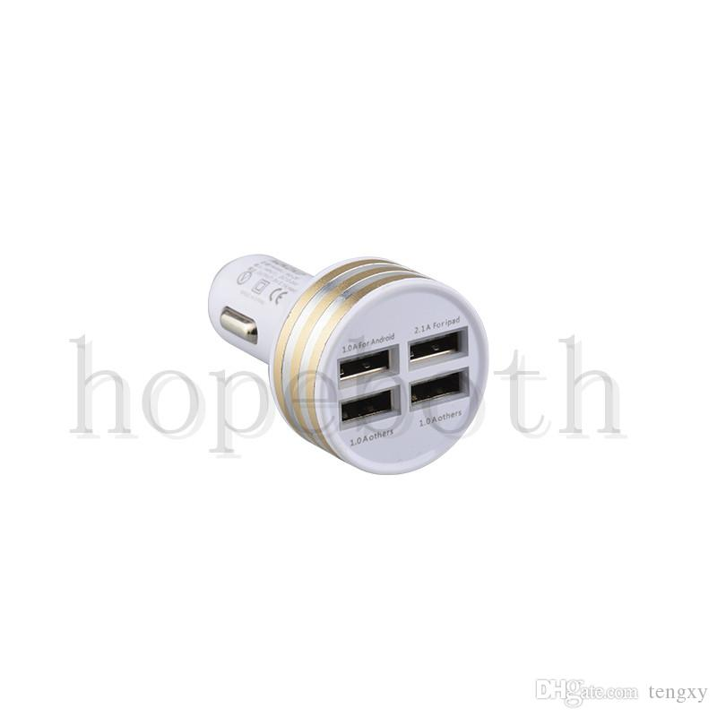 colorful Car charger 5V 3.1A 4 Usb ports Car chargers auto power adapter for iphone samsung mobile cellphone gps tablet PC