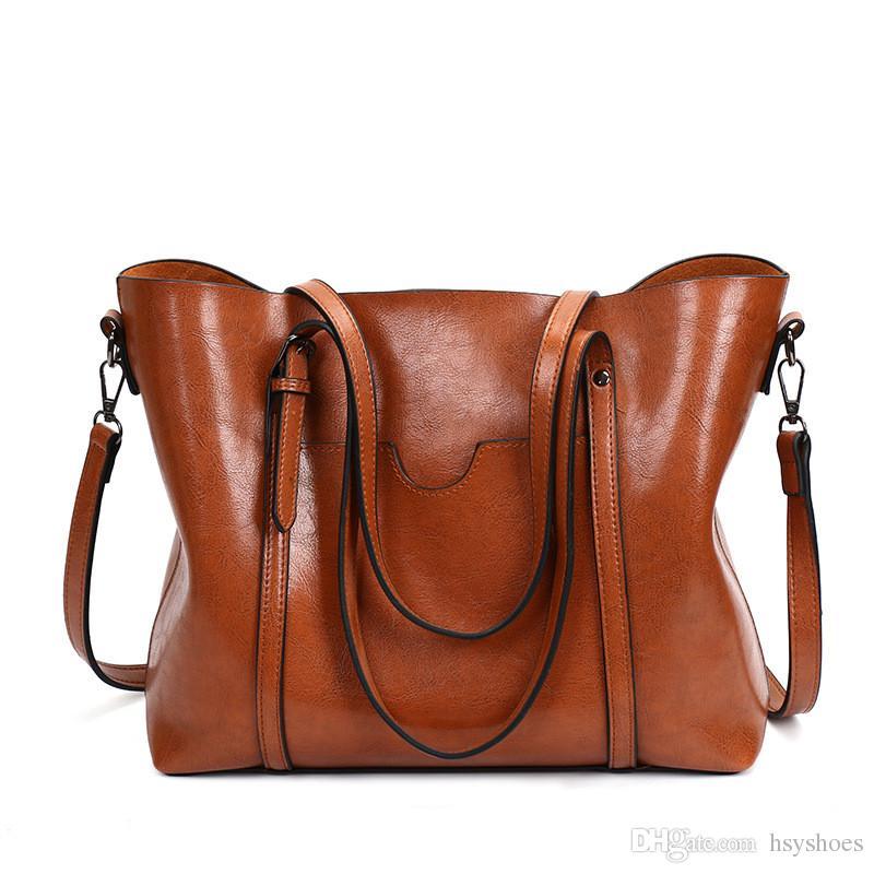 f8189e1a5e6c Women Bag Big Handbags Famous Oil Wax Leather Retro Vintage Style Crossbody Women  Bag Tote Outlet Purses Designer Handbags From Hsyshoes